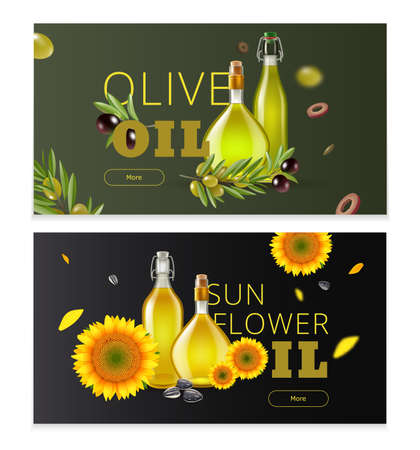 Realistic oil product horizontal banner set with olive oil and sunflower oil headlines vector illustration Ilustração