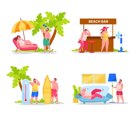 Summertime hot weather heatstroke cause symptoms prevention 4 flat compositions with drinking water fan headache vector illustration