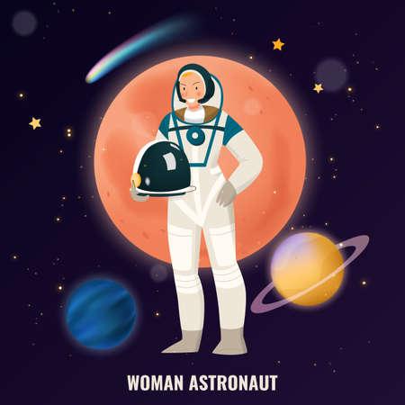 Female profession composition with astronaut symbols flat vector illustration Vettoriali