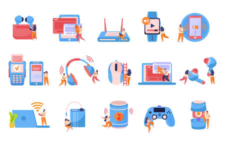 Wireless devices flat icons set with smartphone mobile card payment smartwatch game controller earbuds recolor vector illustration 矢量图像