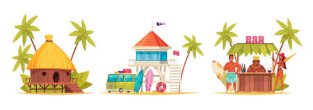 Cartoon and colored hawaii icon set with different bungalow and bar counter vector illustration