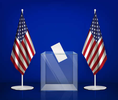 Usa elections realistic composition with images of transparent ballot box between american flags on blue background vector illustration