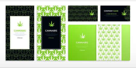 Medical marijuana and cannabis design set flat isolated vector illustration Illusztráció