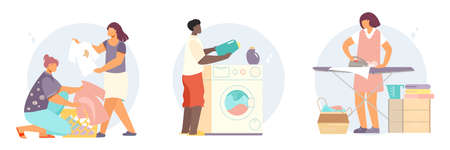 Laundry compositions with flat characters of people collecting and washing clothes with washing machine and iron vector illustration