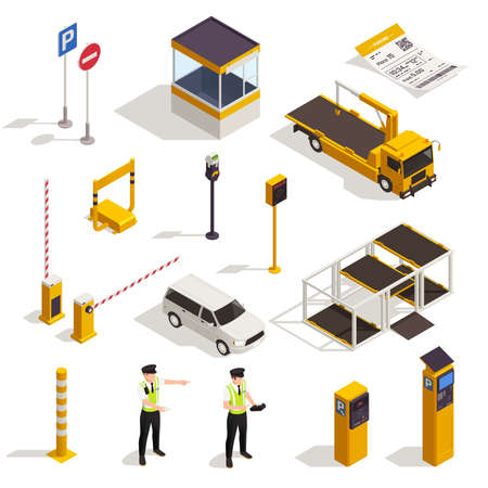 Parking isometric set with traffic signs meter  entrance ticket police officer tow truck evacuator booth vector illustration Stock Illustratie