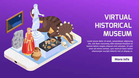 Modern museum isometric banner with smartphone and various exhibit items 3d vector illustration