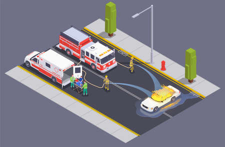 Emergency service isometric composition with fire fighters crew on street putting blaze out of burning car vector illustration