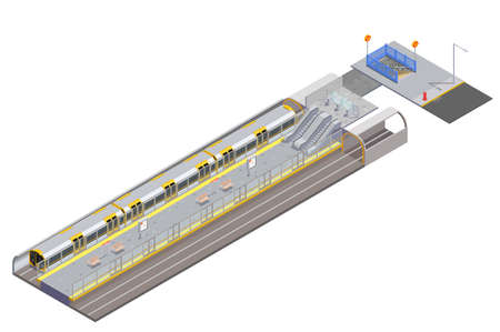 Empty subway station entrance and train on white background 3d isometric vector illustration 向量圖像