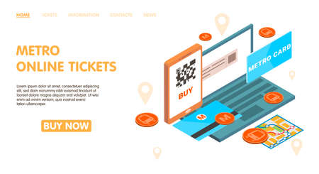 Metro online tickets page design with metro card symbols isometric vector illustration