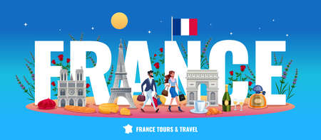 France tourism concept with tours and travel symbols flat vector illustration