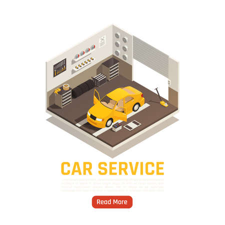 Car service systems check adjusting parts replacement including filter tires exhausts brakes steering isometric composition vector illustration