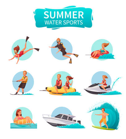 Summer water sports cartoon icons set with people diving sailing skiing surfing isolated on white background vector illustration