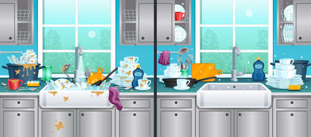 Dirty and clean kitchen background with washing dishes symbols flat vector illustration Vettoriali