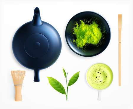 Matcha tea realistic collection with isolated images of teapot cup and powder with leaves and stirrer vector illustration