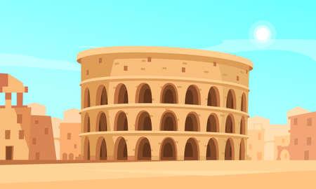 Cartoon background with rome coliseum and ancient buildings vector illustration Ilustración de vector