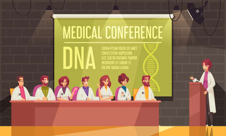 Colored medical conference banner with speaker and participants in the conference room vector illustration 向量圖像