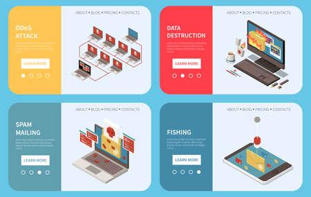 Hacker fishing digital crime isometric banner set with ddos attack data destruction spam mailing descriptions vector illustration 向量圖像