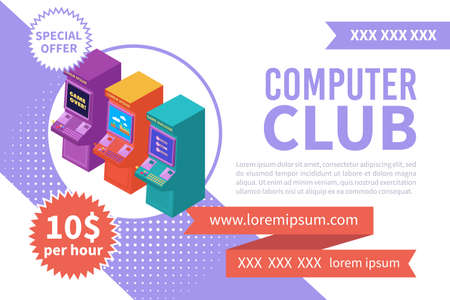 Computer club isometric banner with three colorful video slot machines 3d vector illustration