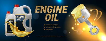 High quality engine oil advertising horizontal  poster with description of properties realistic vector illustration