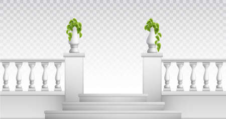 Transparent background with outdoor and vintage park elements so as stair balustrade decorative vases realistic vector illustration Vettoriali