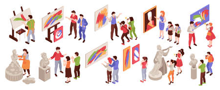 Isometric art gallery icon set with human characters of artists and exhibition visitors on blank background vector illustration