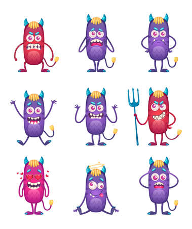 Cartoon monster isolated emoticons set with nine funny characters of violet and red colored smiley monsters vector illustration