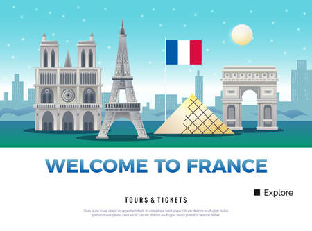 France tourism poster with museums and sights symbols flat vector illustration