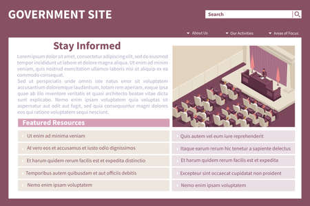 Parliament government webpage isometric web site landing page with view of parliament chamber and editable text vector illustration