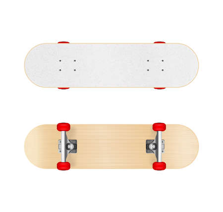 Skateboards images realistic set illustrated sporty equipment displayed from different angles isolated vector illustration Illustration