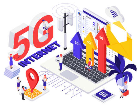 Network 5G internet generation  isometric design concept with tiny persons and growth symbols vector illustration 矢量图像