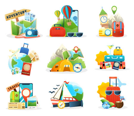 Travel colored isolated compositions set with famous landmarks world map tickets online booking passenger baggage flat vector illustration