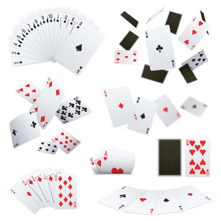 Poker club game player cards sets deck spread 4 aces royal flush hand realistic collection vector illustration