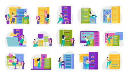 Colored icons set with system administrators at work in server room isolated on white background vector illustration