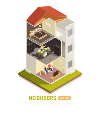 Neighbors relations conflicts excessive noise nuisance suffering from loud music isometric building cutout view vector illustration 벡터 (일러스트)