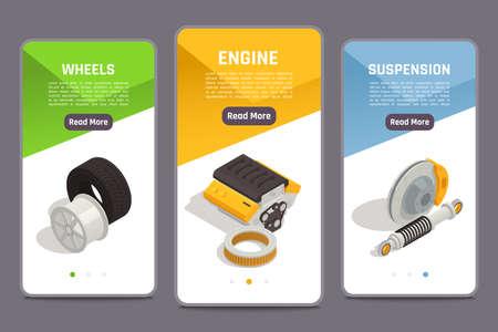 Auto parts car spares online store 3 isometric smartphone screens with wheels engine suspension offer vector illustration Illusztráció