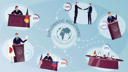 Diplomacy infographic set with international relations symbols flat vector illustration