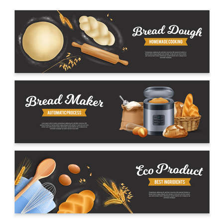 Set of three wide horizontal realistic bread banners with ribbon badges text and images of dough vector illustration