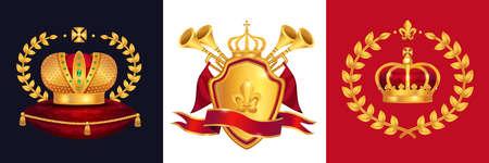 Royal gold crown heraldry trumpets shield emblem monarchy regal symbols attributes concept 3 realistic images vector illustration 矢量图像