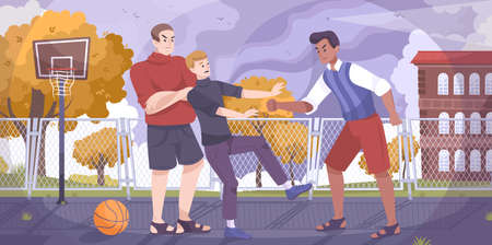 Teenagers hooligan flat composition with school yard scenery and characters of fighting teenagers on basketball playground vector illustration