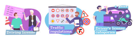 Driving school set with traffic regulations symbols flat isolated vector illustration