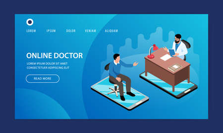 Isometric online medicine website template design with characters of doctor and patient clickable links and buttons vector illustration