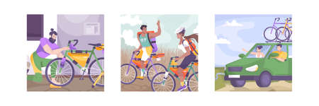 Three flat bike tourism illustration set with car ride walking and travel fees vector illustration