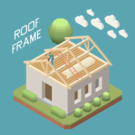 Roofer building wooden rafter roof frame on single family detached house isometric composition blue background vector illustration