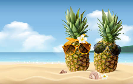Two pineapples with sunglasses on sandy beach realistic summer composition vector illustration