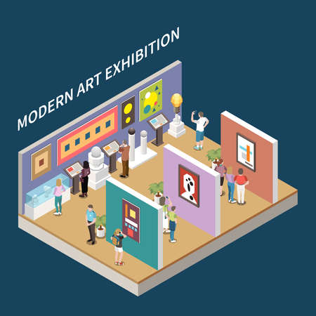 Modern art exhibition isometric background with pictures at walls and interactive information stands vector illustration 向量圖像