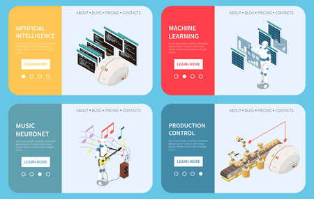 Artificial intelligence set of horizontal banners with learn more buttons page switches and isometric images vector illustration