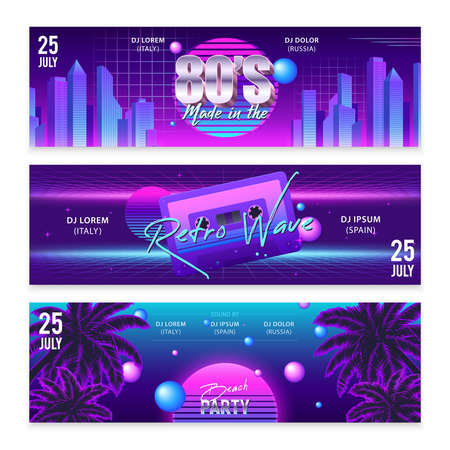Set of three wide horizontal realistic retro wave party banners with neon artwork and editable text vector illustration