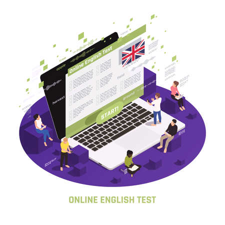 Language learning circular isometric composition with people sitting standing on laptop passing online english test vector illustration 版權商用圖片 - 157646490