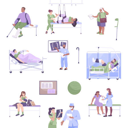 Flat fracture icon set patients with injuries and fractures xray and doctor s consultation vector illustration Vector Illustratie