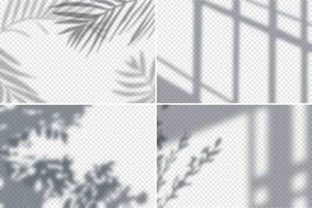 Shadow effects frames realistic transparent set isolated vector illustration